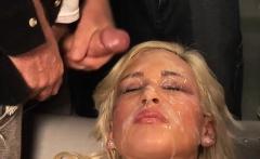 Blonde Babe Gets Cummed On A Lot