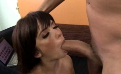 Brunette chick sucking cock and riding passionate
