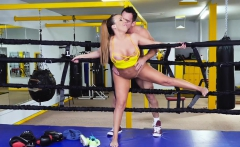 teamskeet   brunette with big ass takes cock post sparring