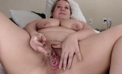 Amazing Chubby Blonde Dildoing Her Pussy
