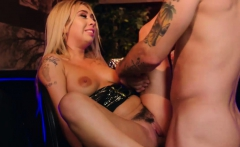 Saucy blonde babe Kat Dior gets twat drilled in the bar