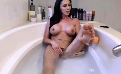 Brunette shows her big boobs and blows