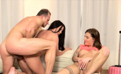 Sisters seduced their stepdad and fucked him, as they wanted