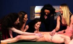 Dicksucking cfnm babes tease their submissive