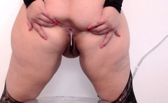 Webcam BBW show Big belly Fat ass