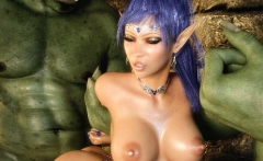 3D Busty Elf All Holes Fucked by Orcs!