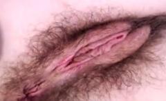Hairy asian preggo masturbation up close