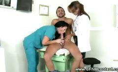 CFNM Nurse and Dr suck the patients cock