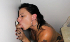 Tattoo Stripper Slut Sucking Off Hard Cocks in Glory Hole