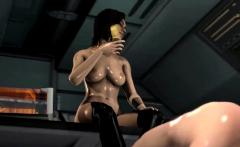 Hung futanari fucking hot brunette 3D babe