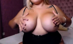 Cute BBW strips then plays with her clit