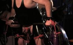 Domina rides naked slave
