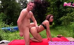 Outdoor fick with german brunette skinny girl next door