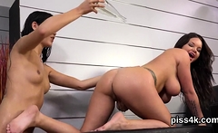 Erotic lesbian teens get splashed with pee and squirt wet cu
