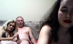Old granny and girl trying blowjob and handjob