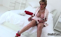 Unfaithful english milf lady sonia flashes her massive natur