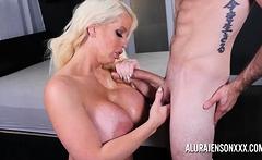 Big tit Alura Jenson sucking and tit fucking a big cock