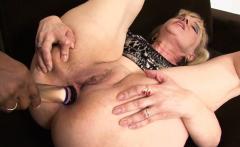 Blonde mature takes a facial after an interracial anal