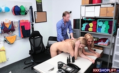 Two blonde shoplifter gets punish fucked by a mall cop