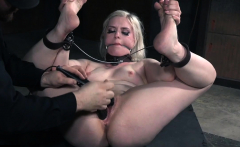 Slave punished with toys before her orgasm