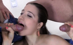 Sultry russian brunette gal Taissia prepares for blowjob