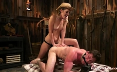Tied guy gets his asshole strapon-fucked