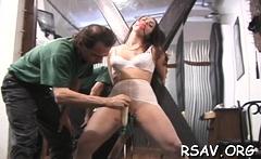Swingeing sweetheart in nice underwear is posing