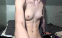 Perky tits on lean body sexy girl playing with pussy