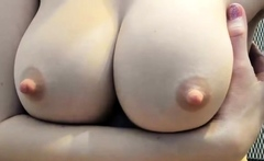 Amature with puffy nipples solo