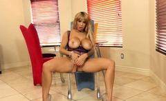 PORNSTARPLATINUM Big Tits MILF Alyssa Lynn Fucks Dildo Solo