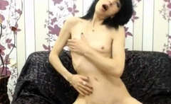 skinny mature babe strips and fucks her dildo