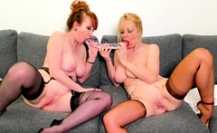 Red XXX and Lucy get naughty with a double-sided dildo