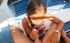 Amateur teens fucking in public during a boat trip