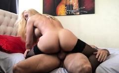 Busty blonde milf fucking in sexy black stockings