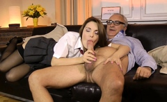 Classy schoolgirl bouncing on old mans dick