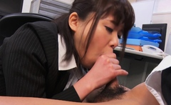 Japanese secretary, Haruka Miura sucks dick, uncensored