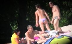 Morning beach nudity caught on by beach hidden cam